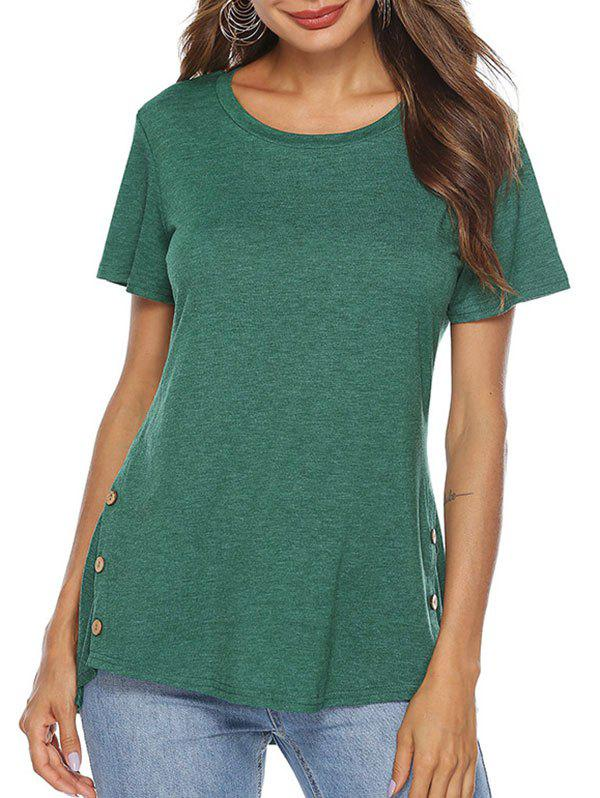 Shops High Low Button Embellished T-shirt