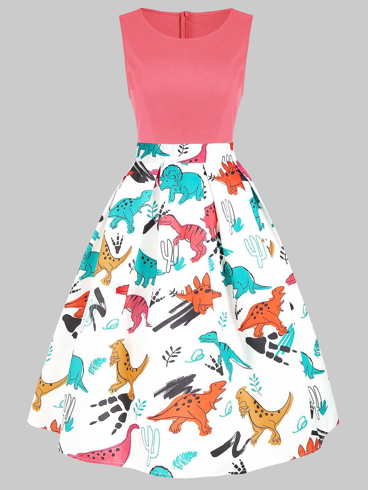 Chic Dinosaur Print Sleeveless A Line Dress