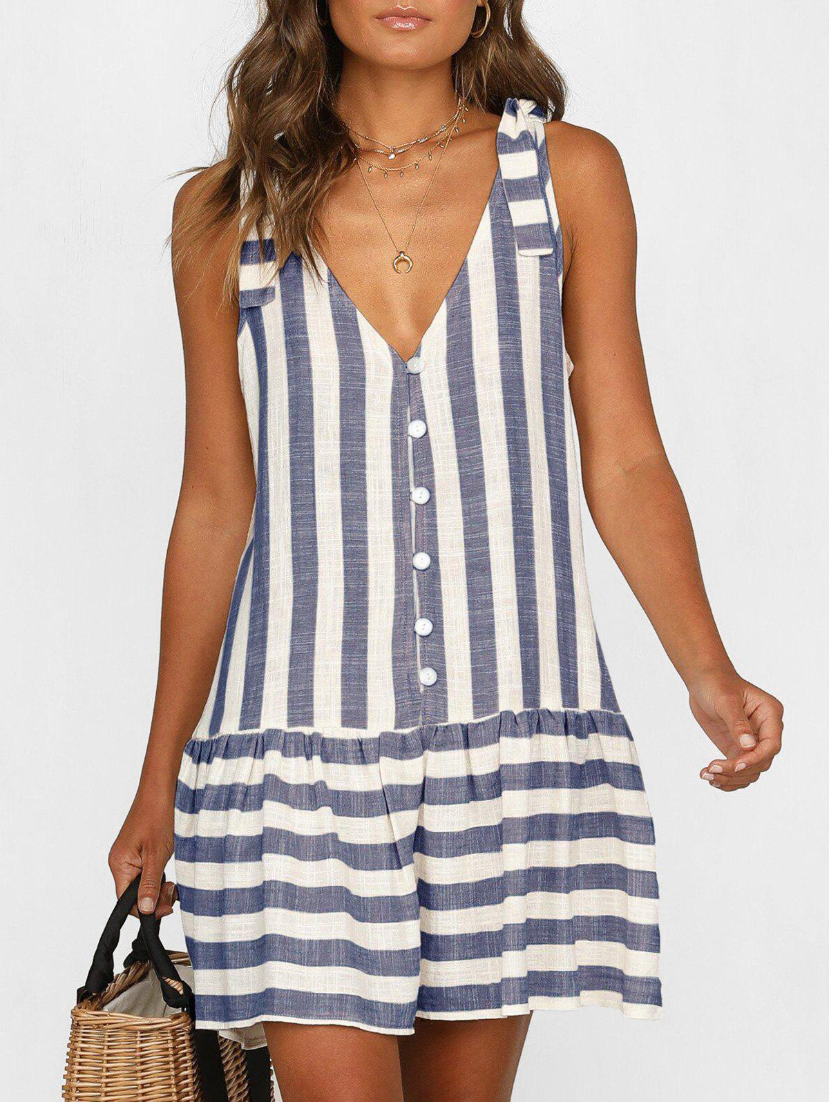 New Plunge Striped Casual Tank Dress