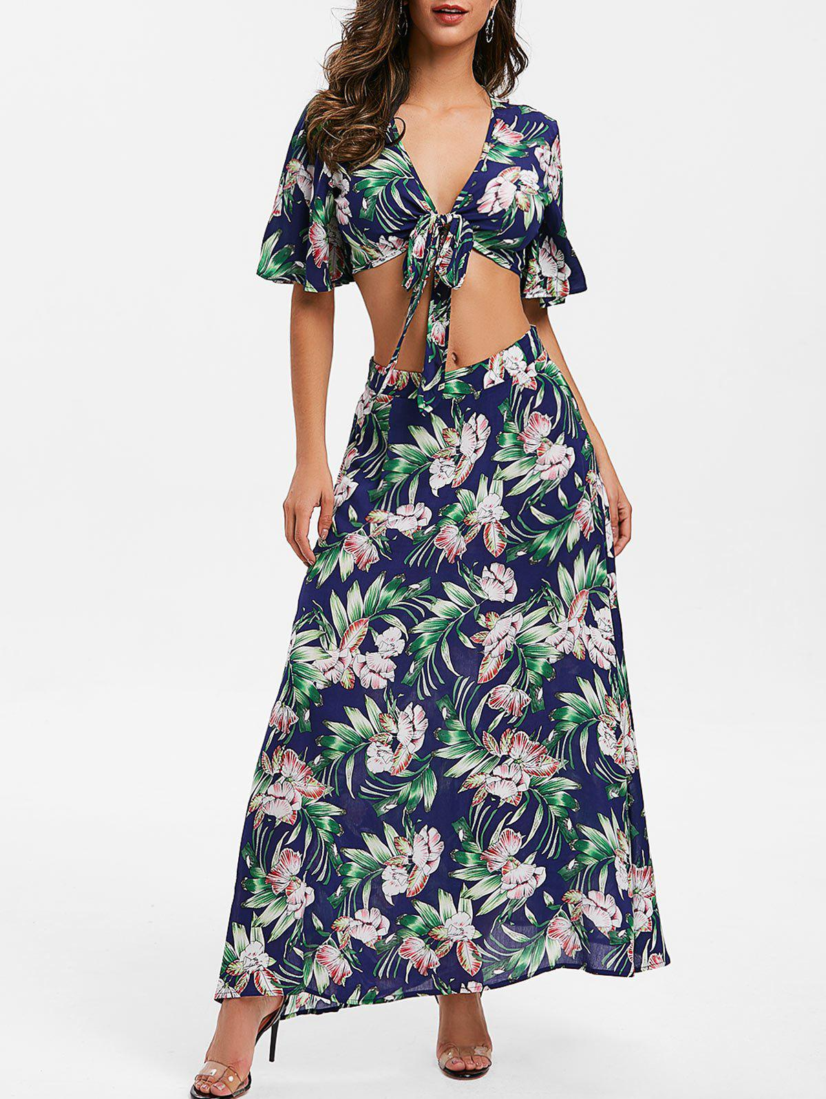 Trendy Floral Print Bowknot Two Piece Dress