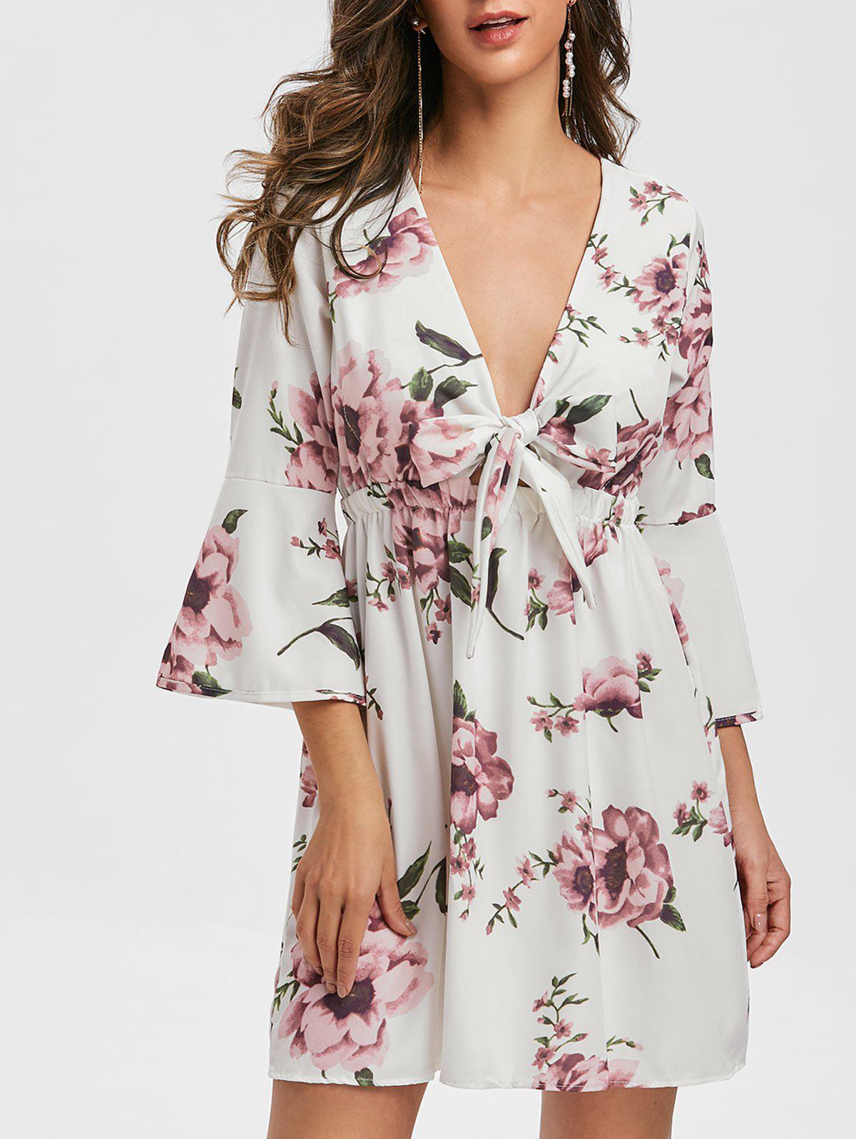 Affordable Knotted Floral Print Flare Sleeve Dress