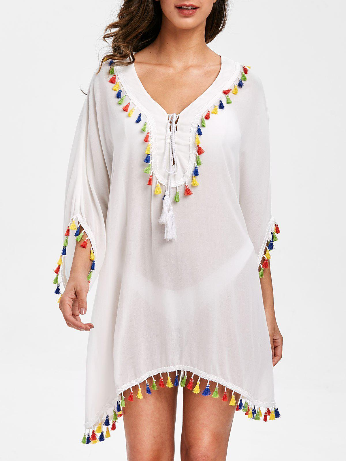 Batwing Sleeve Tassels Tunic Cover Up - 2xl