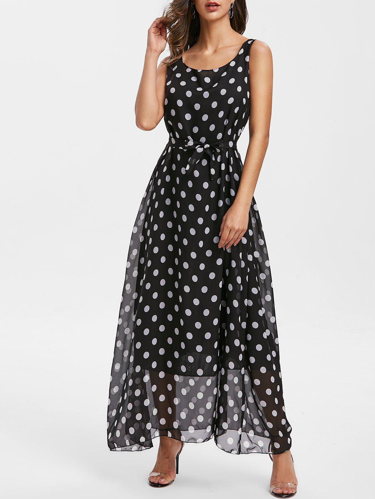 Store Polka Dot Sleeveless Belt Dress