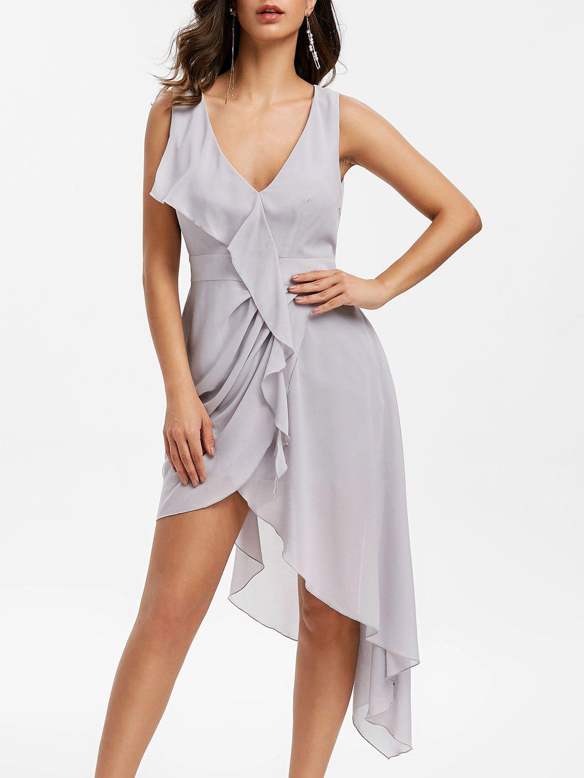 Trendy Asymmetric Plunge Flounce Midi Dress