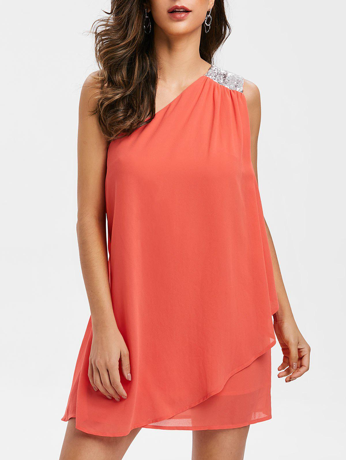 Affordable Sequined Panel Chiffon One Shoulder Dress