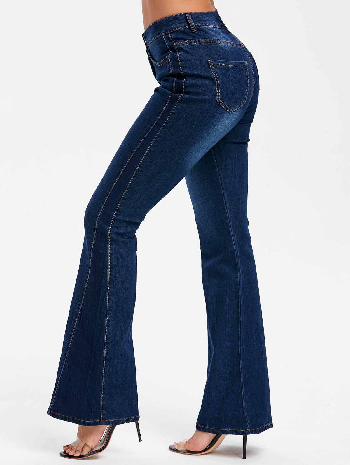 Fashion Five Pockets Bell Bottom Jeans