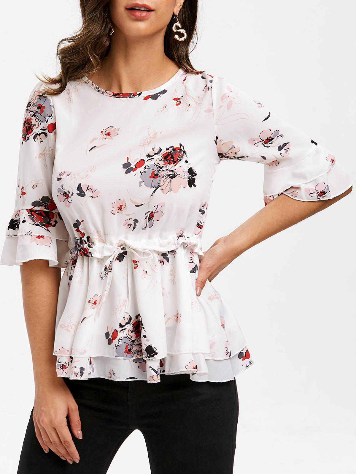 Unique Floral Print Half Sleeves Drawstring Blouse
