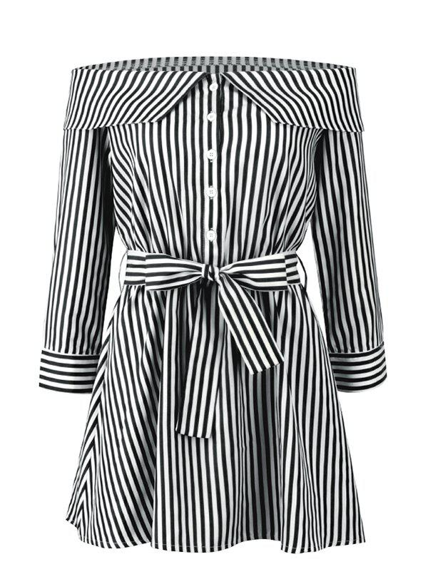Chic Stripes Off Shoulder Mini Dress