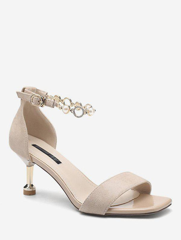 Affordable Faux Pearl Ankle Strap Sandals