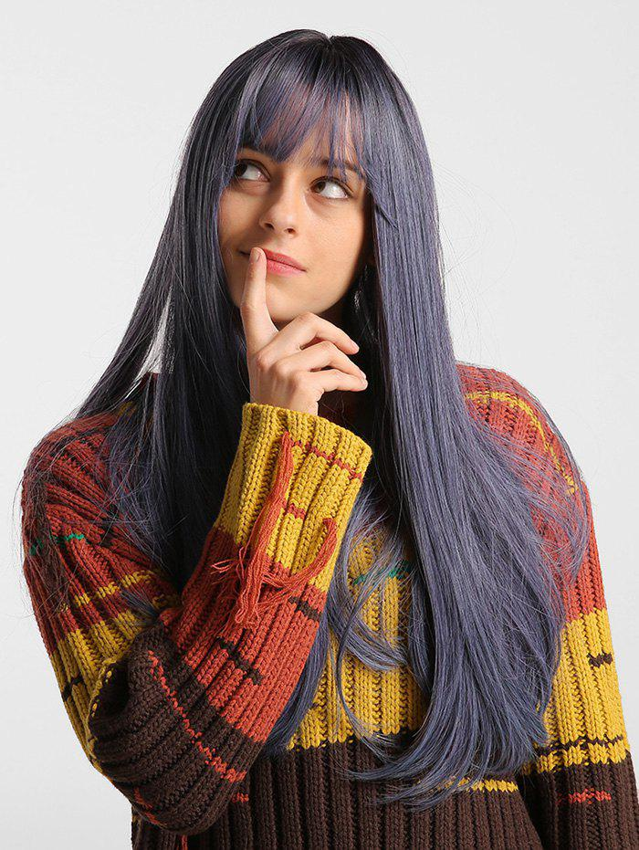 Discount Solid See-through Bang Straight Long Synthetic Wig