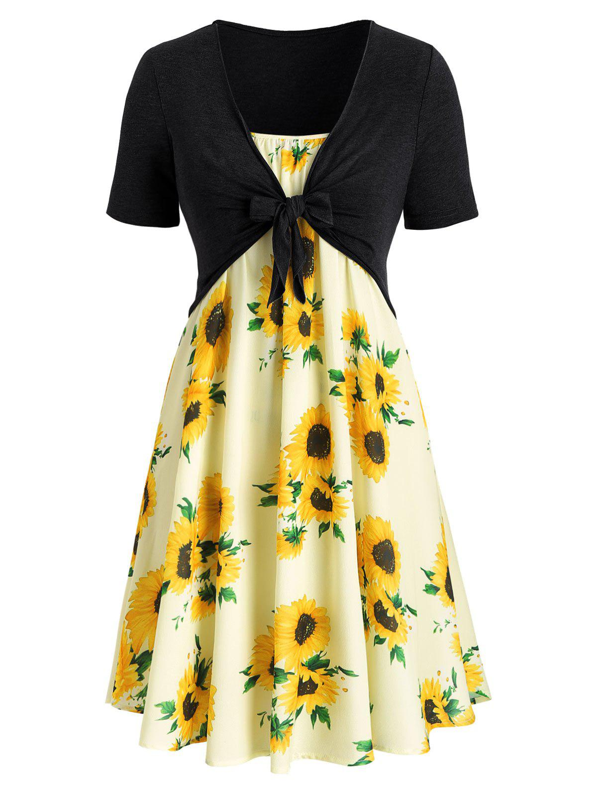 Outfit Plus Size Sunflower Print Knotted Two Piece Dress