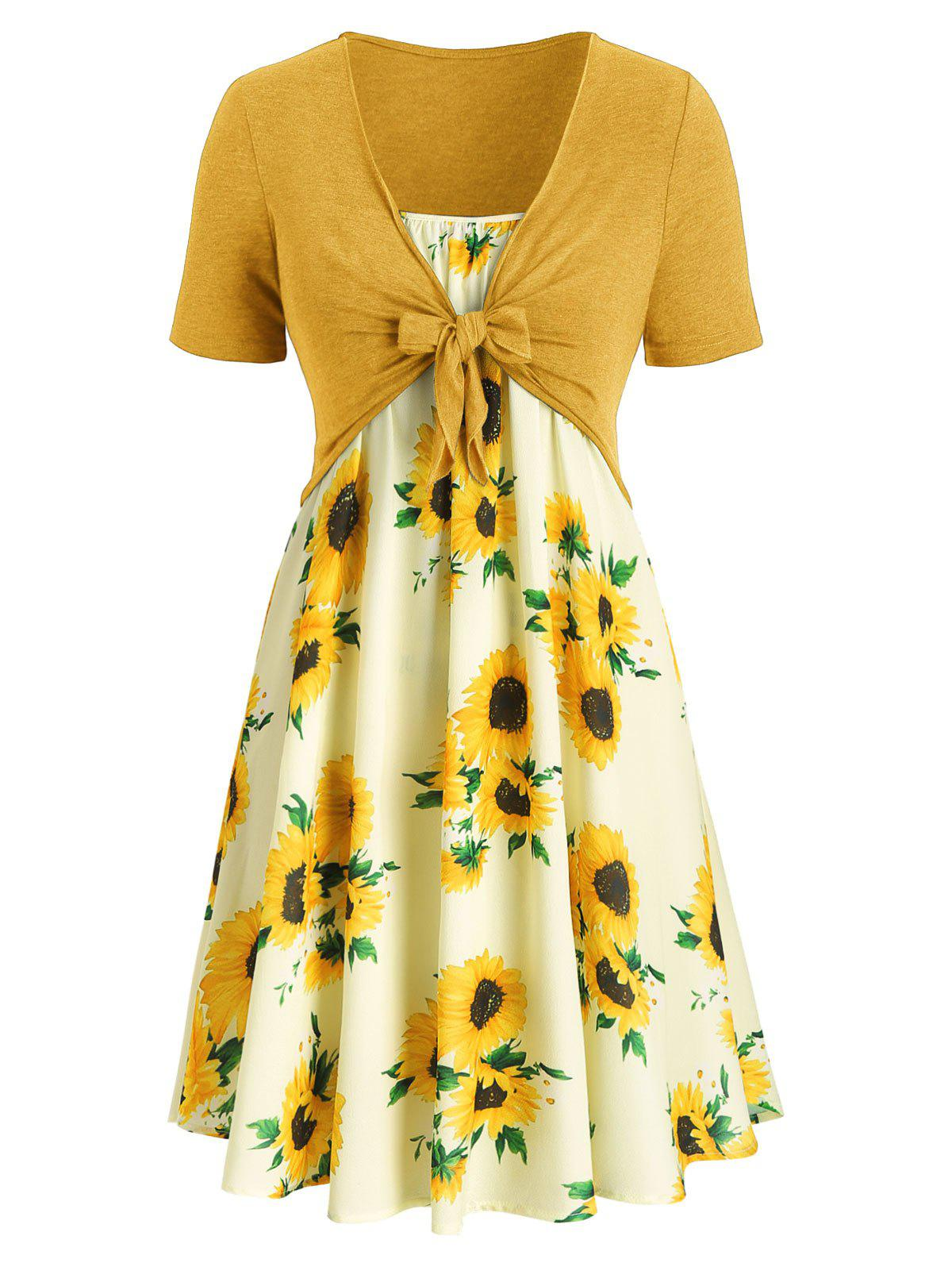 Shop Plus Size Sunflower Print Knotted Two Piece Dress