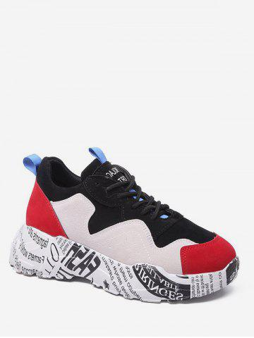 b5da9f8ee89 Letter Print Lace-up Design Sneakers