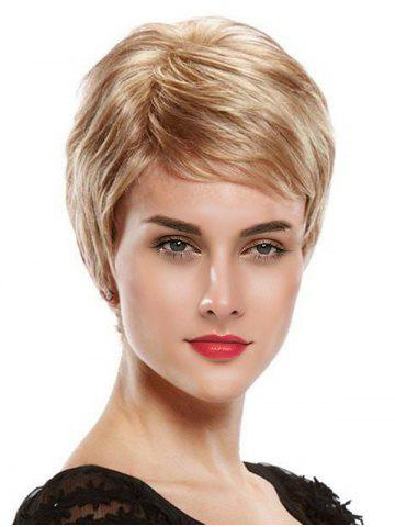 Oblique Bang Short Solid Fluffy Human Hair Wig