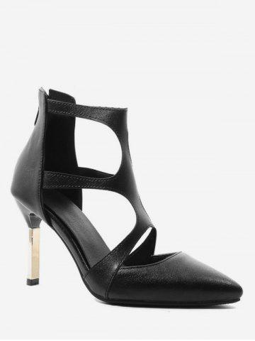 Pointed Toe Cut Out Heeled Boots