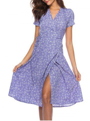 Flower V Neck Wrap Dress