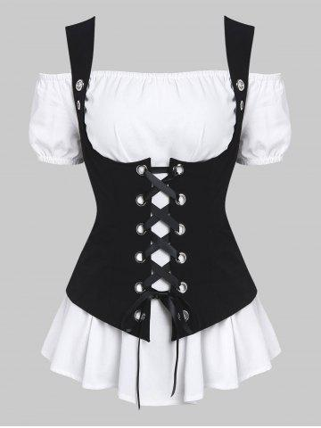 27facd585a41b A Line Blouse and Lace-up Waistcoat Set