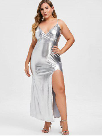 d53921cc031 Rosegal Plus Size Metallic High Slit Maxi Party Dress