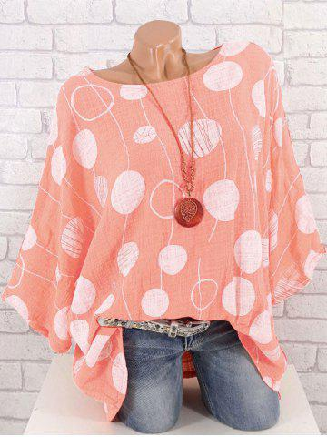 Plus Size Batwing Sleeve Printed Blouse
