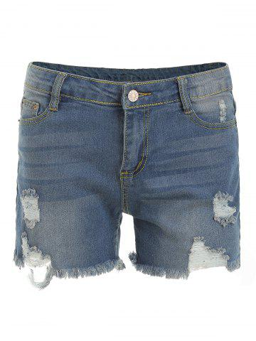 Ripped Zipper Fly Denim Shorts