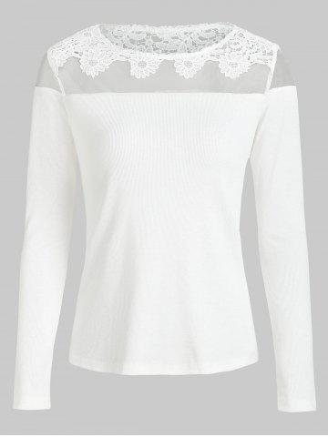 Mesh Applique Panel Knitted Tee