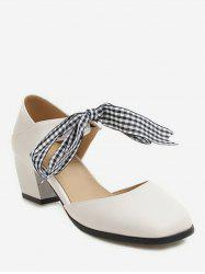 Sweet Plaid Bow Chunky Heel Sandals -