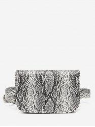 Snake Pattern Faux Leather Flap Fanny Pack -