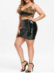 Rosegal Plus Size High Rise PU Mini Bodycon Skirt -