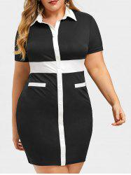 Rosegal Two Tone Plus Size Fitted Work Dress -