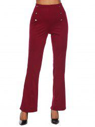 Button High Waisted Bootcut Pants -