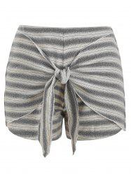 Striped Front Tie Casual Shorts -