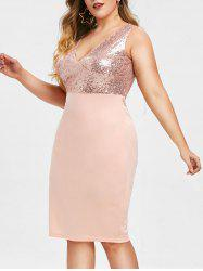Rosegal V Neck Sequins Plus Size Bodycon Dress -