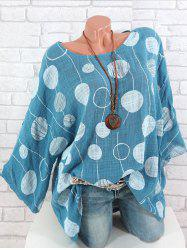 Plus Size Batwing Sleeve Printed Blouse -