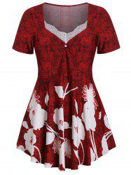 Plus Size Floral Marled T-shirt -