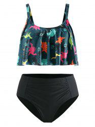 Plus Size Ruffled Dinosaur Print Ruched Bikini Set -
