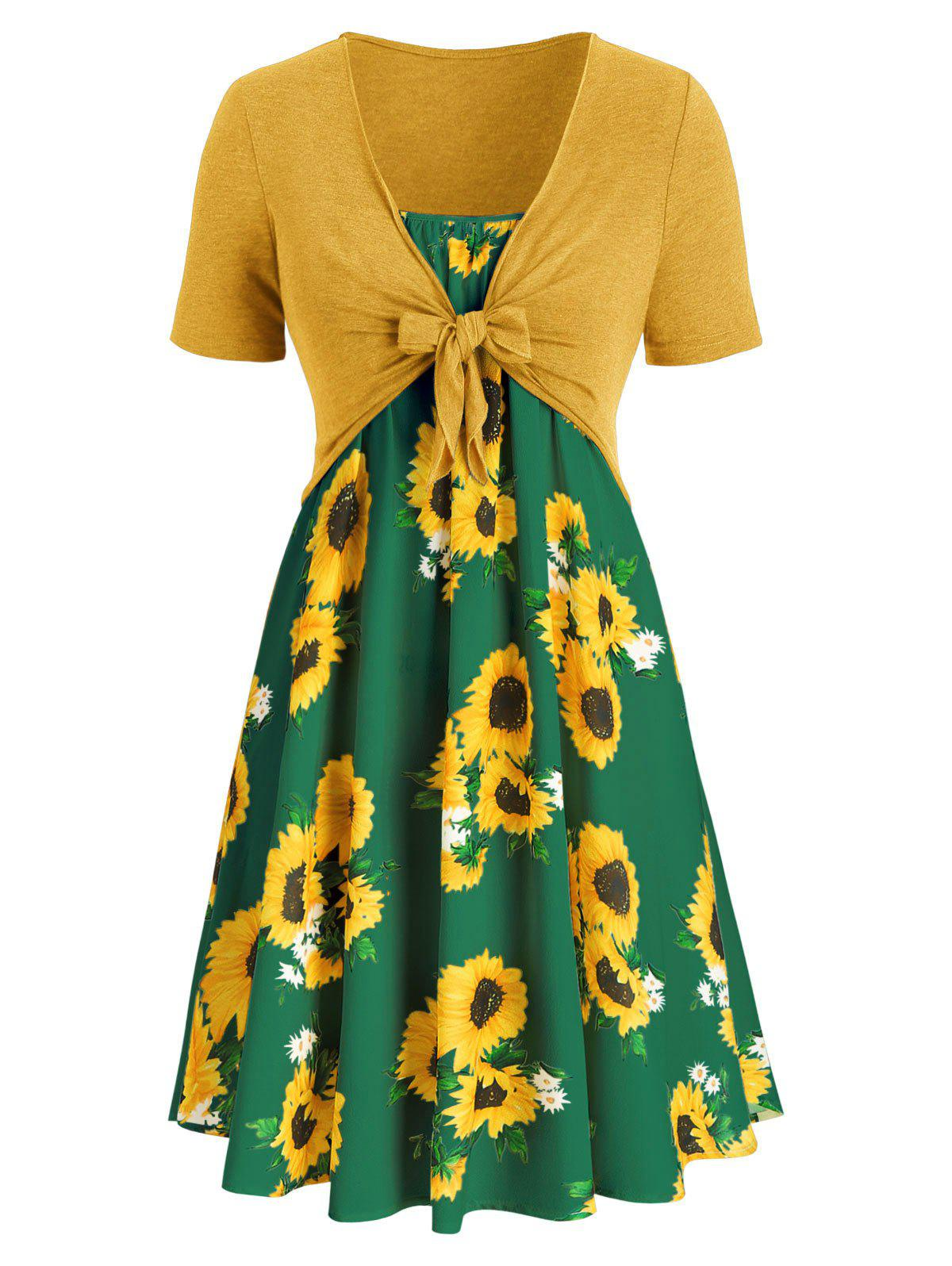 9c3e5803353 50% OFF   2019 Plus Size Sunflower Print Knotted Two Piece Dress ...