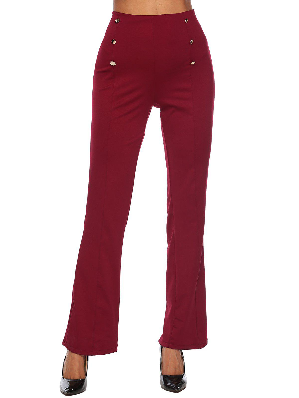 New Button High Waisted Bootcut Pants