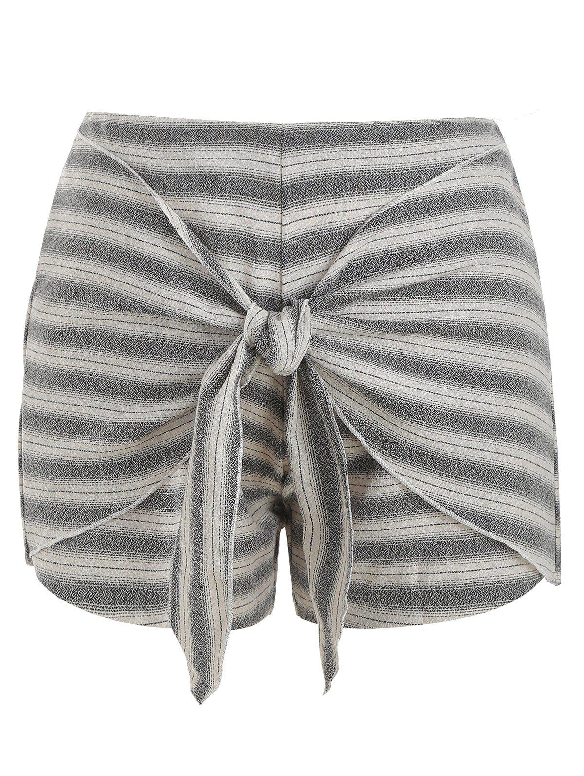 Affordable Striped Front Tie Casual Shorts