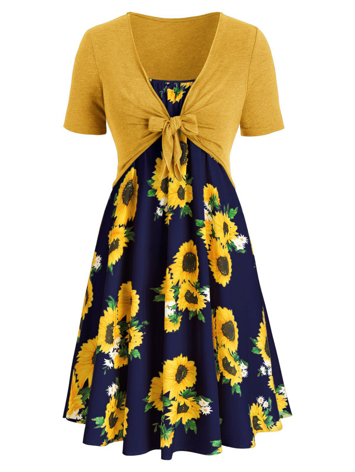 Outfits Plus Size Sunflower Print Knotted Two Piece Dress
