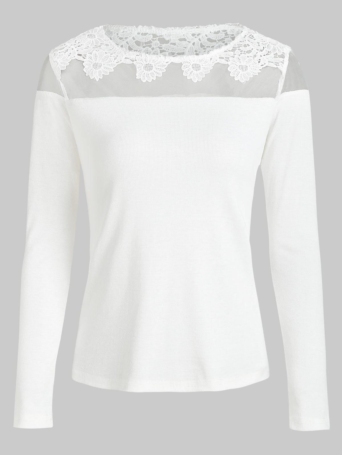 Buy Mesh Applique Panel Knitted Tee