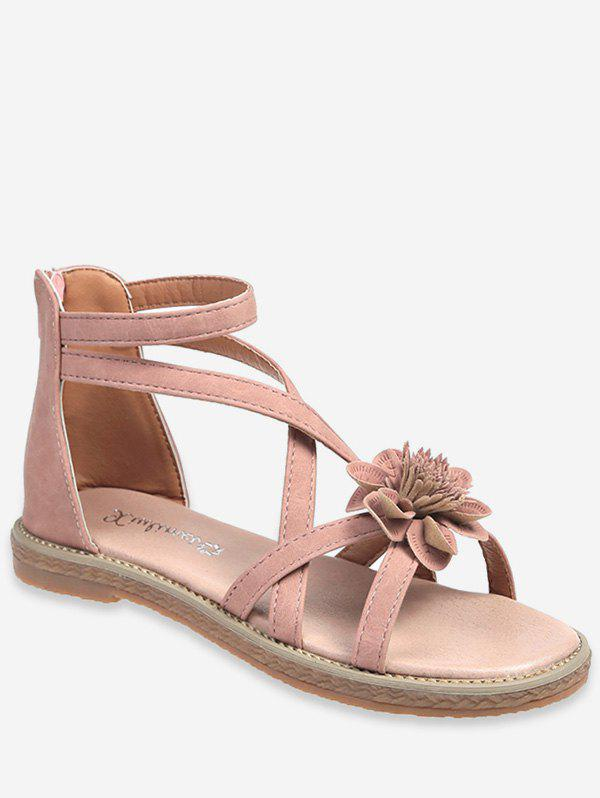 Online Summer Cross Strap Flower Pattern Zipper Sandals