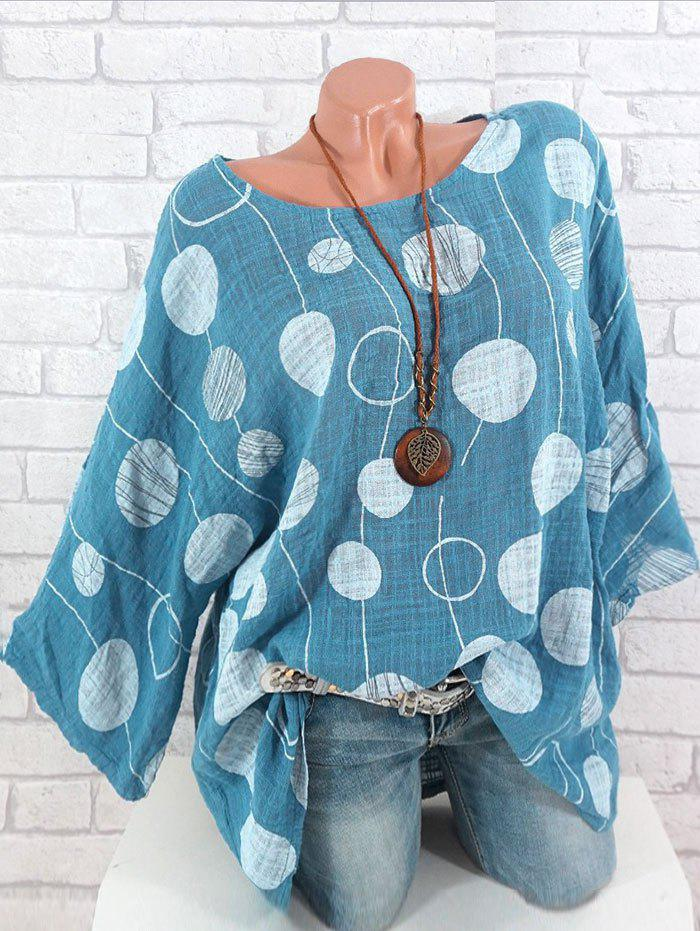 Sale Plus Size Batwing Sleeve Printed Blouse