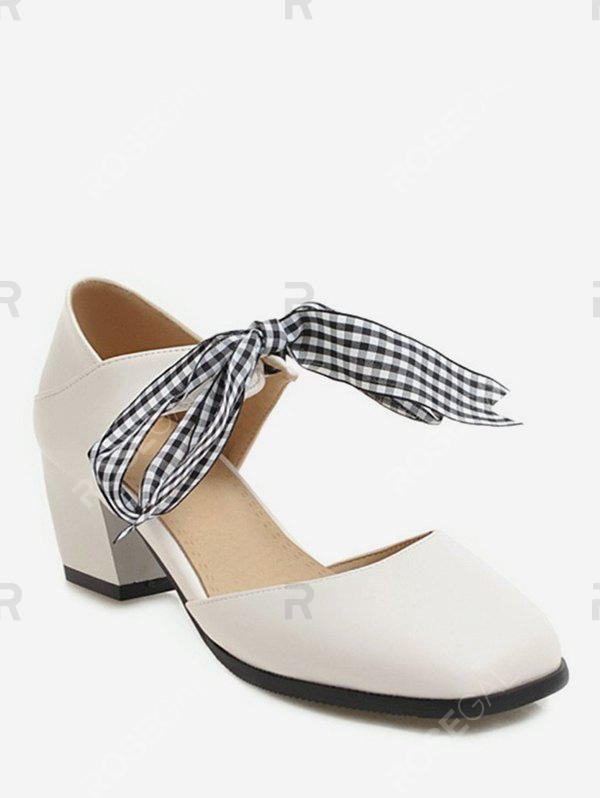 Outfit Sweet Plaid Bow Chunky Heel Sandals