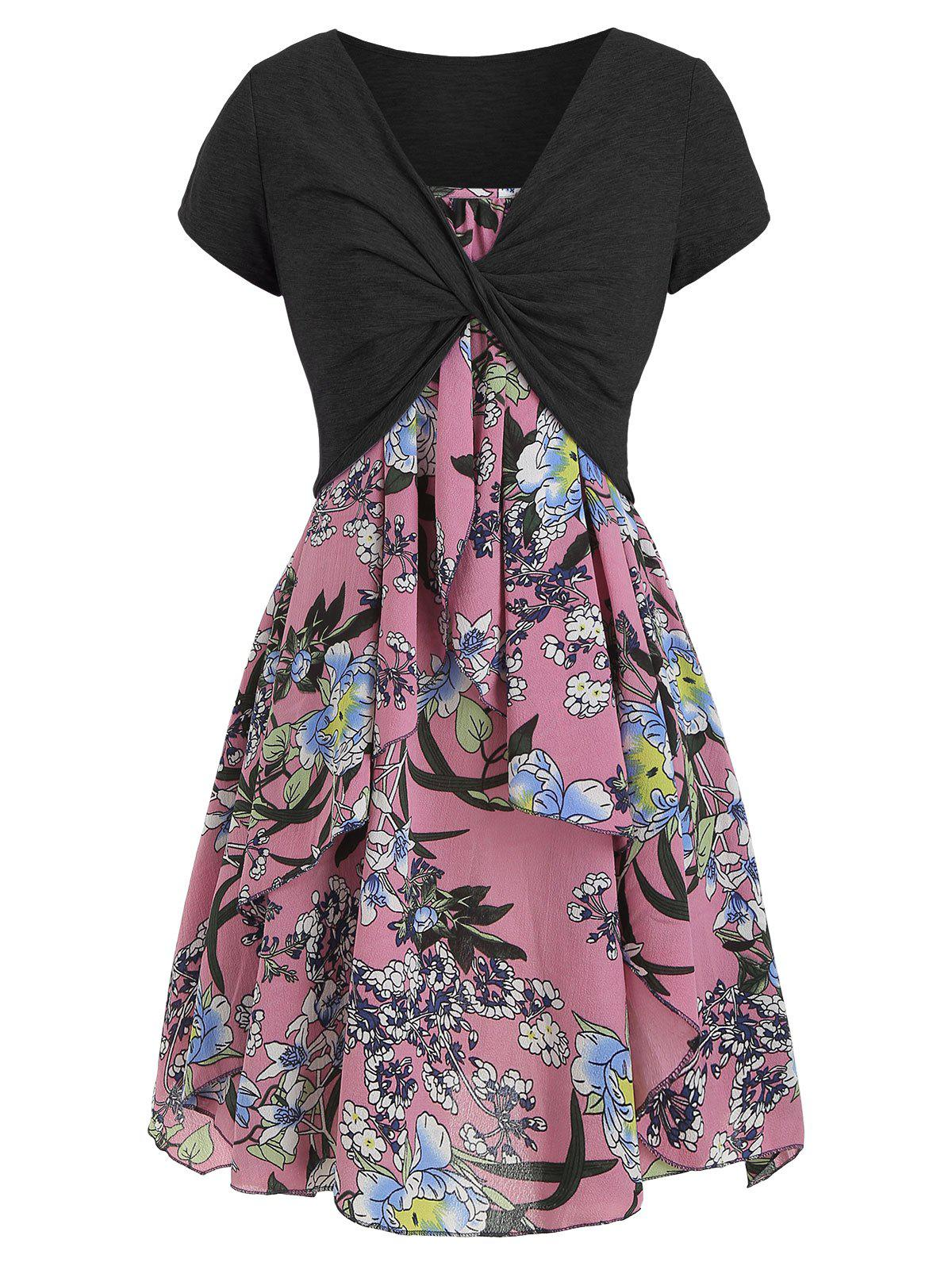 Buy Cami Flower Dress with Crop T-shirt