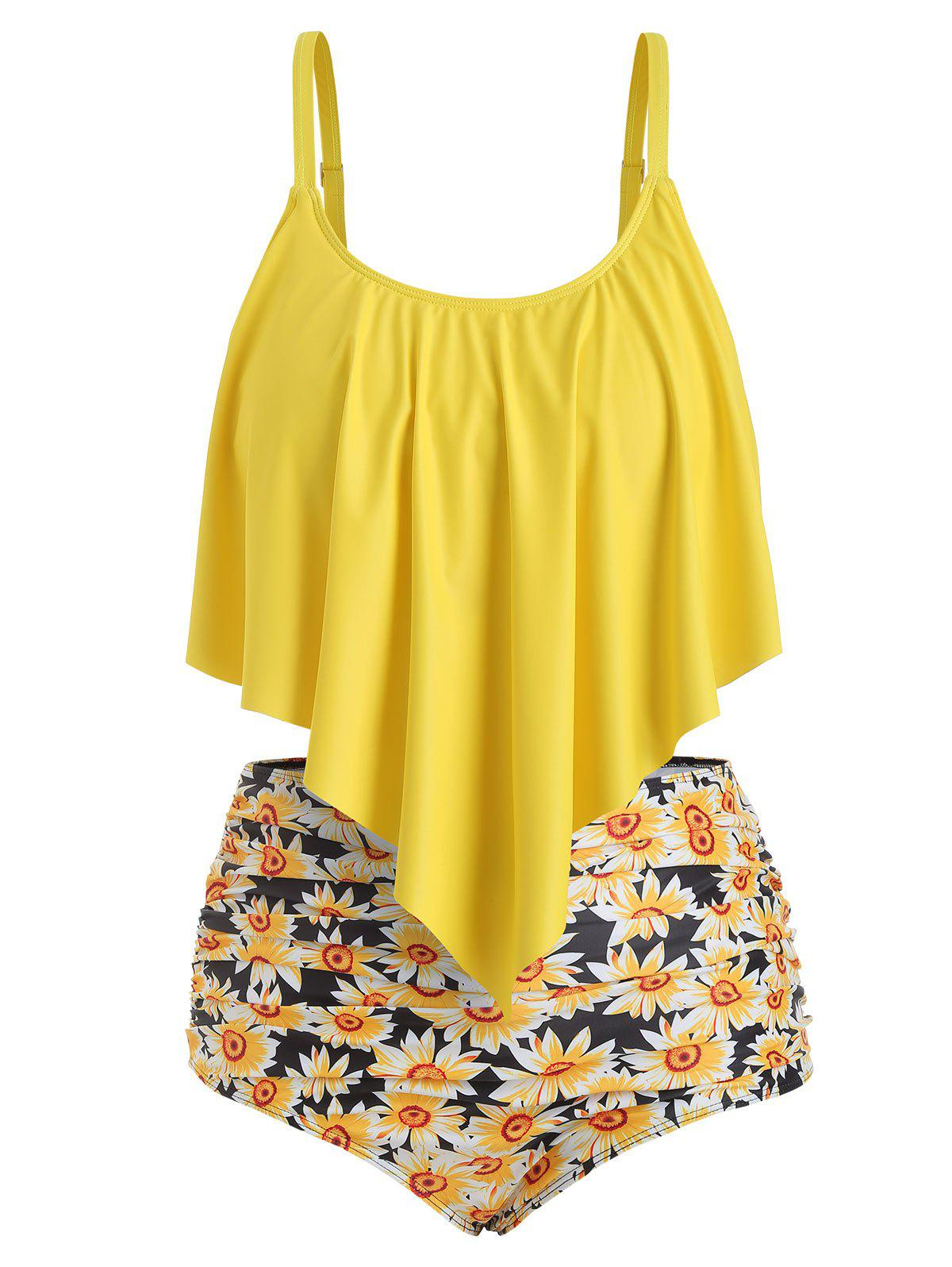 Online Plus Size Overlay Sunflower Print Ruched Bikini Set