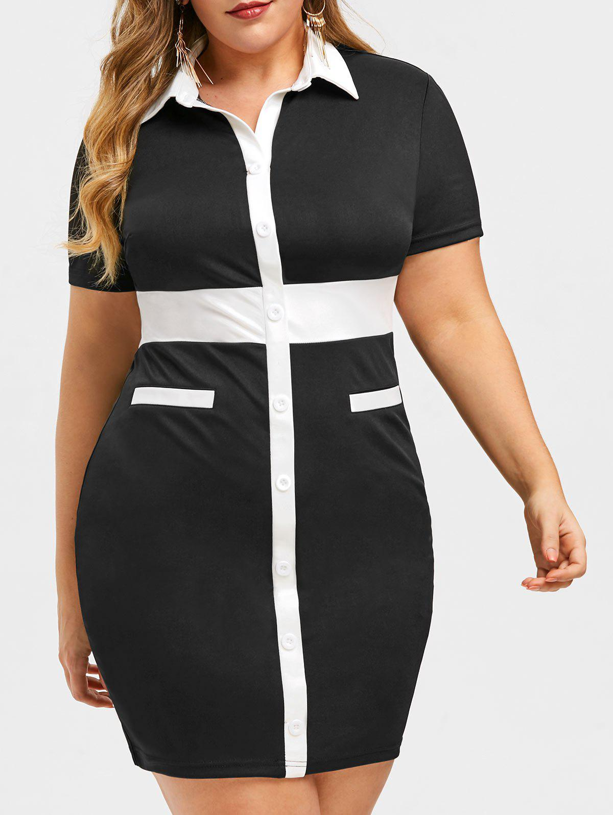 Fashion Rosegal Two Tone Plus Size Fitted Work Dress