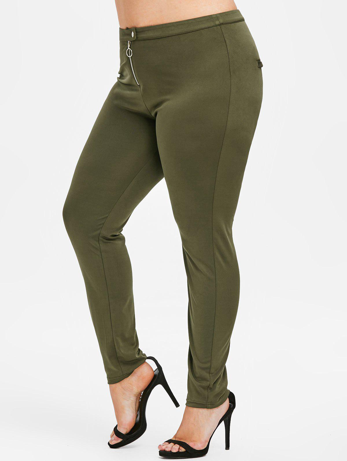 Affordable Rosegal Plus Size Zipper Fly Skinny Pants