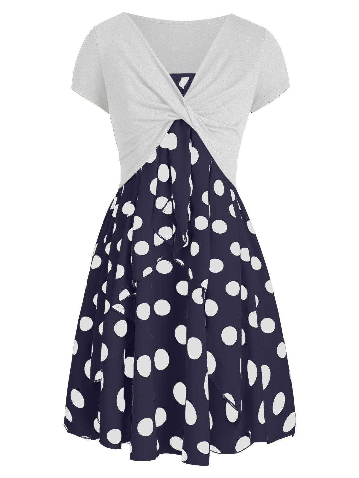 Affordable Cami Polka Dot Dress with Crop T-shirt