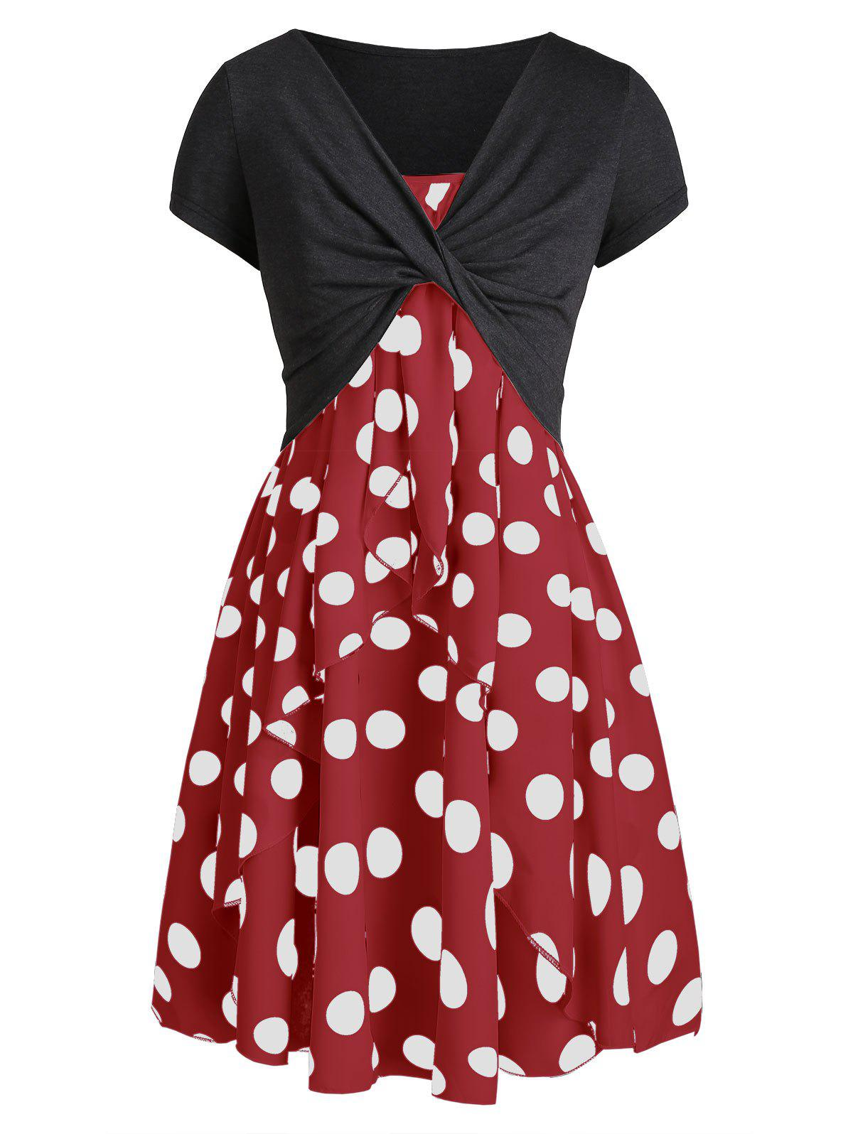 Trendy Cami Polka Dot Dress with Crop T-shirt