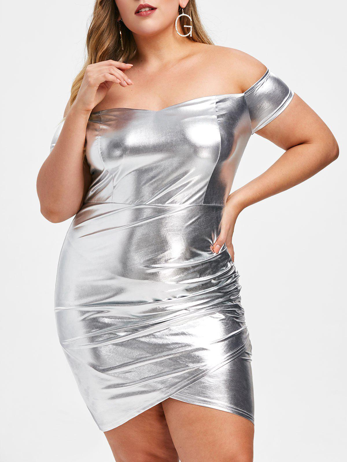 Outfits Rosegal Plus Size Metallic Off Shoulder Tight Dress